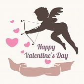 Design Elements. Hearts, Ribbon And Cupid Silhouette