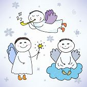 vector set of hand drawn colorful cute angels