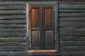 Vintage window. Window of old wooden house