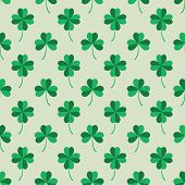 Seamless Pattern Tiling with Green Clover Leaves.