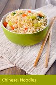 foto of chinese parsley  - Chinese noodles in bowl with vegetables and space for your text - JPG