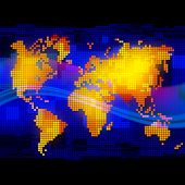 Abstract luminous world map. Web and mobile template. Global business and communication content