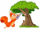 Illustration of funny squirrel saws branch