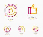 Thumb up icon, logo. Social abstract minimal line design concept