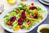 picture of rocket salad  - Orange with Beetroot and pumpkin seed salad by balsamic dressing - JPG