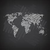 Sketchy World Map. White Chalk Line on Blackboard