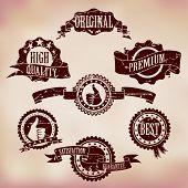 Grunge Scratched Badges on Vintage background