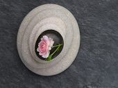 zen stones and pink rose