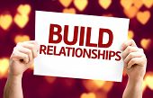 Build Relationships card with heart bokeh background