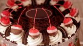 Colourful chocolate ice cream cake for celebration