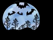 Bats Moon and Trees