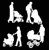 illustration with women and carriages silhouettes isolated on black background