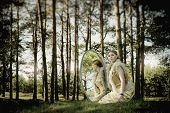 Concept Wonderful Fairy Tale With Beautiful Girl In Country Of Mirror