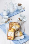 Candied Fruits Cake With Tea And Coffee For Breakfast