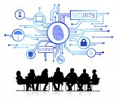 Vector of security themed background with silhouettes of business people sitting around the conference table.