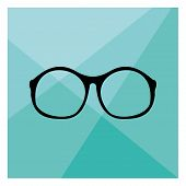 Glasses vector illustration on mint green flat triangle background