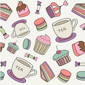 vector hand drawn cakes, sweets, macaroons, tea cup seamless background