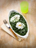 egg over boiled spinach