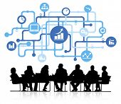 Business infographic with meeting table.