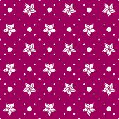 Seamless pattern. Holiday ornament with flowers and dotted rhombuses.