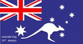 picture of kangaroo  - Map of Australia with text for Australia Day with inset kangaroo silhouette - JPG
