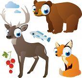 vector isolated cartoon cute animals set: forest: bear, deer, fox