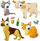 vector isolated cartoon cute animals set:farm: cat, dog, cow, kitten