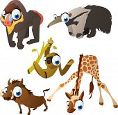 vector isolated cartoon cute animals set: baboon, anteater, sloth, warthog, giraffe
