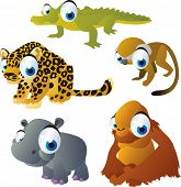 vector isolated cartoon cute animals set: safari: alligator, jaguar, hippopotamus, orangutan, monkey