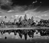 Cambodia landmark Angkor Wat with reflection in water. Black and white verson