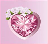 Diamond heart with roses.