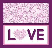 Vector pink flowers lineart love text frame pattern invitation greeting card template
