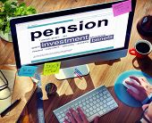 Pension Retirement Income compensation Office Business Concept