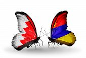 Two Butterflies With Flags On Wings As Symbol Of Relations Bahrain And Armenia