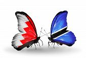 Two Butterflies With Flags On Wings As Symbol Of Relations Bahrain And Botswana