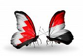 Two Butterflies With Flags On Wings As Symbol Of Relations Bahrain And Yemen