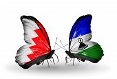 Two Butterflies With Flags On Wings As Symbol Of Relations Bahrain And Lesotho