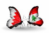 Two Butterflies With Flags On Wings As Symbol Of Relations Bahrain And Lebanon