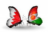 Two Butterflies With Flags On Wings As Symbol Of Relations Bahrain And Niger