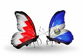 Two Butterflies With Flags On Wings As Symbol Of Relations Bahrain And Salvador