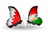 Two Butterflies With Flags On Wings As Symbol Of Relations Bahrain And Tajikistan