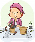 Illustration of a Woman Moving a Plant From a Small Pot to a Larger One