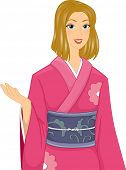 Illustration of a Caucasian Woman Wearing a Pink Kimono