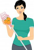 Illustration of a Woman Using a Fruit Picker to Gather Oranges