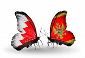 Two Butterflies With Flags On Wings As Symbol Of Relations Bahrain And Montenegro