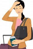 Illustration of a Female Traveler Having a Headache