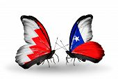 Two Butterflies With Flags On Wings As Symbol Of Relations Bahrain And Chile