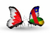 Two Butterflies With Flags On Wings As Symbol Of Relations Bahrain And Car