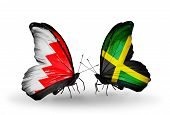 Two Butterflies With Flags On Wings As Symbol Of Relations Bahrain And Jamaica