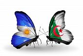 Two Butterflies With Flags On Wings As Symbol Of Relations Argentina And Algeria